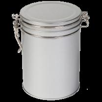 Metaldåse sølv rund m/luk 200g